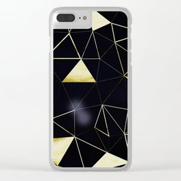 Gold Triangle Geometric Pattern on Black Suede Clear iPhone Case
