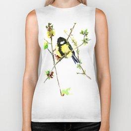 Spring nature colors,Bird art, great Tit, yellow spring bird Biker Tank