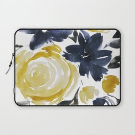 Navy and Yellow Loose Watercolor Floral Bouquet Laptop Sleeve