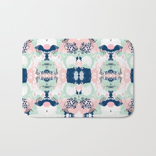 Kimmie - abstract painting modern hipster trendy urban city painterly boho home college dorm decor  Bath Mat