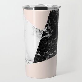 Black white marble blush pink color block Travel Mug
