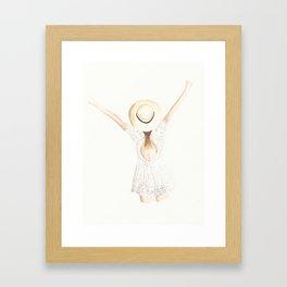 White Eyelet Romper Framed Art Print