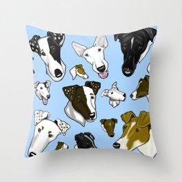 Smooth Fox Terrier Light Blue Throw Pillow