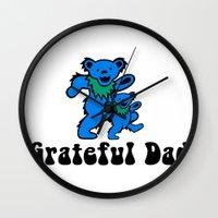 grateful dead Wall Clocks featuring Grateful Dad 2.0 by Grace Thanda