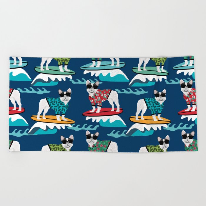 French Bulldog Surfing Pattern Beach Towel