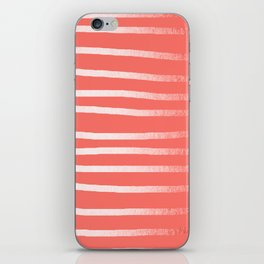Living Coral Rose Gold Simply Drawn Stripes iPhone Skin