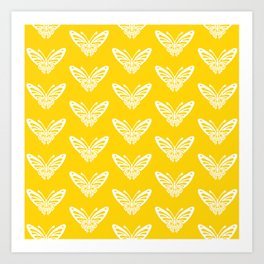Butterfly Pattern Yellow Art Print