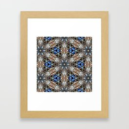 River Birch bark with blue sky kaleidoscope Framed Art Print