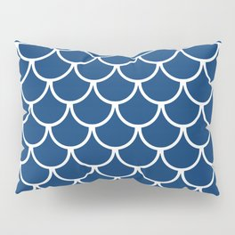 Navy Blue Fish Scales Pattern Pillow Sham