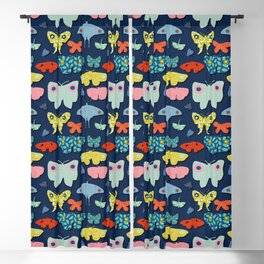 Moths Blue Blackout Curtain
