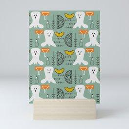 Mid-century spooky pattern Mini Art Print
