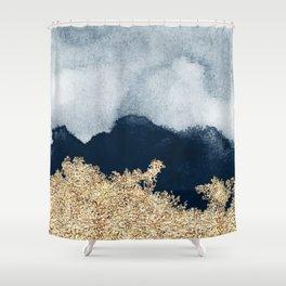 Blue gold peaks Shower Curtain