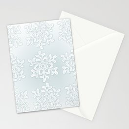 Crocheted Snowflake Ornaments on teal mist Stationery Cards