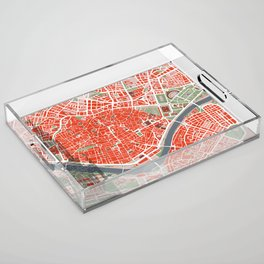 Seville city map classic Acrylic Tray