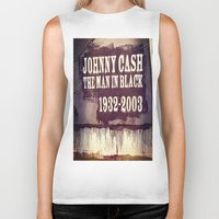 johnny cash Biker Tanks featuring Johnny Cash by Dan99
