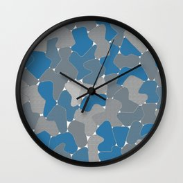 Blue Wall Etching Wall Clock