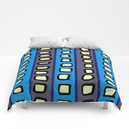 Lines and Circles Dark Gray and Blue Comforters