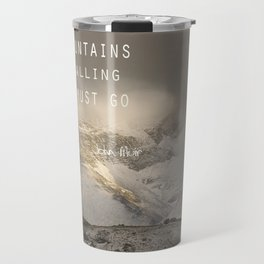 The Mountains are calling, and I must go.  John Muir. Vintage. Travel Mug
