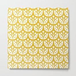Mid Century Modern Flower Pattern Mustard Yellow Metal Print