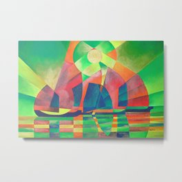 Sea of Green With Cubist Abstract Junks Metal Print