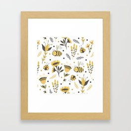 Bees and ladybugs. Gold and black Framed Art Print