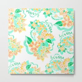 Modern yellow turquoise watercolor tropical floral illustration spring summer pattern Metal Print