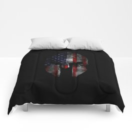 American Flag Spartan Helmet with Grunge Distress USA United States Comforters