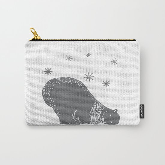 Merry christmas- Polar bear - Animal Watercolor Illustration Carry-All Pouch