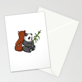 Grizzly Bear And Panda Bear Together Stationery Cards