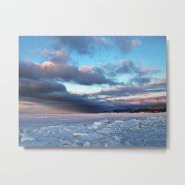 Storm Cloud Across Frozen Bay Metal Print