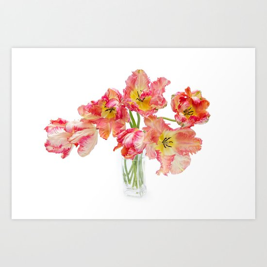 Parrot Tulips in a Glass Vase Art Print