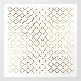 Elegant stylish white faux gold quatrefoil Art Print