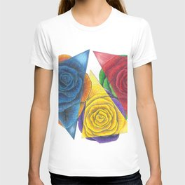 Complimentary Color Rose Trio With Geometric Triangles T-shirt