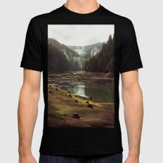 Foggy Forest Creek Mens Fitted Tee Black LARGE