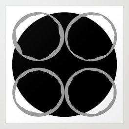Grey Circles Circling A Midnight Circle Art Print
