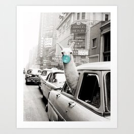 Mint Green Bubble Gum Llama taking a New York Taxi black and white photograph Art Print