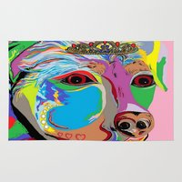 rottweiler Area & Throw Rugs featuring Lady Rottweiler by EloiseArt