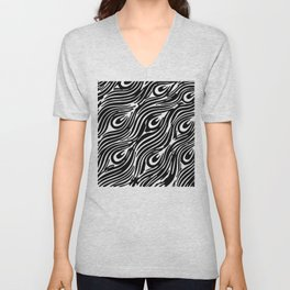 Modern abstract black white peacock feathers Unisex V-Neck