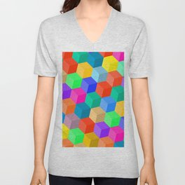 Crayon Colored Perspective Cubes Unisex V-Neck