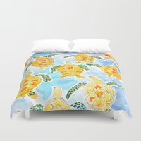 turtles Duvet Covers featuring Turtles by Julie Lehite