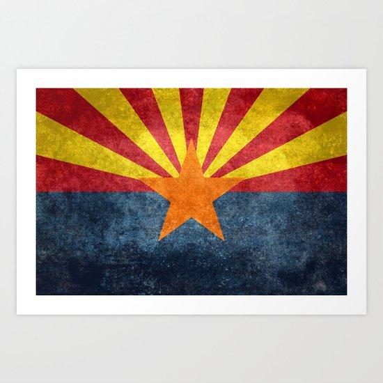 State flag of Arizona in Vintage Grunge Art Print