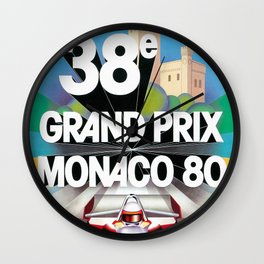 Monaco Gran Prix 38e 1980 Vintage Poster, Artwork for Wall Art, Prints, Poster, Tshirts, Men, Women, Kids Wall Clock