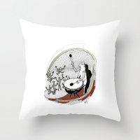drum Throw Pillows featuring Drum dancers by Vilnis Klints