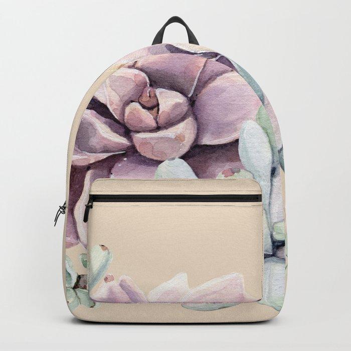 Trendy Apricot + Mint Succulents Backpack