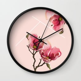 Pink Magnolia Blossoms Wall Clock