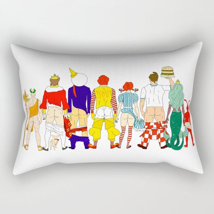 Fast Food Butts Mascots Rectangular Pillow