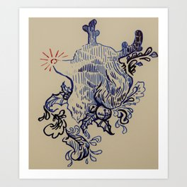 Rudolf the Red-Nosed Poodle Art Print