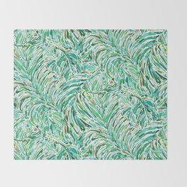 LUSH FREEDOM Watercolor Palm Print Throw Blanket
