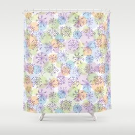 Merry Christmas pattern with purple snowflakes on light background Shower Curtain