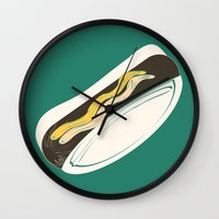hot dog Wall Clocks featuring Hot Dog by Haina